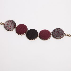 Bracciale nero bordeaux + fantasia grigia *Nickel free*